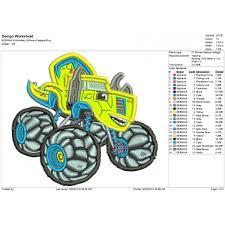 100 Dinosaur Monster Truck Zeg The Applique Design Applique Design