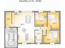 plan maison plain pied gratuit 3 chambres plans de maison modèle aquarelle maison de plain pied de 90m2