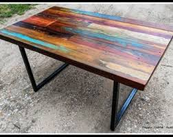 Custom Reclaimed Salvaged Wood Dining Table Or Desk With Inside Painted Furniture 13002
