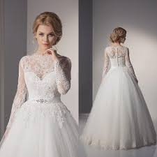 lace ball gown wedding dresses 2016 a line long sleeves lace