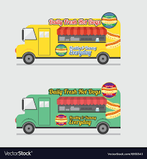 100 Healthy Food Truck Side View Colorful Royalty Free Vector Image
