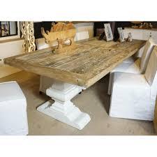 table à manger rectangulaire orme et chêne massif blanchi 2m80 twist