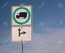 100 Truck Route Sign And Blue Sky Stock Photo Picture And Royalty Free