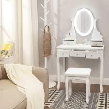 vasagle schminktisch rdt09wl frisiertisch mit beleuchtung spiegel hocker weiß kaufen otto