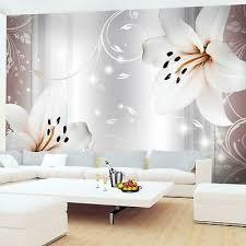 fototapete blumen lilien 3d vliestapete rosa grau wohnzimmer schlafzimmer modern