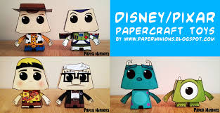 Cute Disney Pixar Papercraft Toys