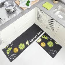 küchenläufer 50 x 80 cm waschbar zitrone grün grau teppichläufer küchenteppich