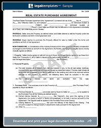 Real Estate Purchase Agreement Form Template