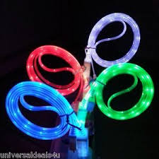 GLOW IN THE DARK light up LED USB Data Sync Cable charger iphone 5