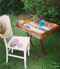 100 Repurposed Table And Chairs DIY Portable Potting Bench For Small Living By Sadie Seasongoods