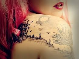 Attractive Gothic Tattoo On Girl Right Back Shoulder