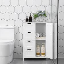 vasagle badezimmerschrank schmaler badschrank 81 x 55 x 30 cm mit 4 schubladen schranktür verstellbare regalebene weiß lhc41w