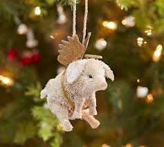 Bottlebrush Pig with Angel Wings Ornament