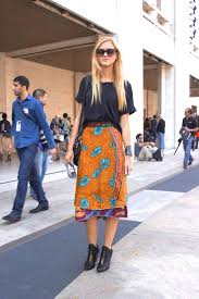 Outfit Idea Wear A Bold Skirt With Basic Black