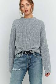 BDG High Neck Ribbed Fisherman Jumper