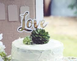 Love Wedding Cake Topper Gold Bridal Shower