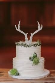 Rustic Simple White Wedding Cake With Deer Anlter Topper