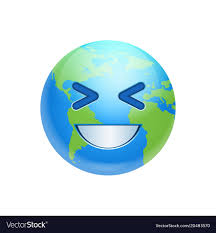Cartoon Earth Face Laughing Icon Funny Planet Vector Image