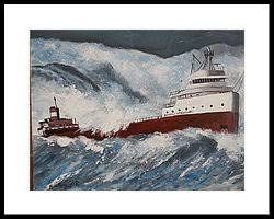 Edmund Fitzgerald Sinking Location by The Sinking Of Edmund Fitzgerald Painting By Martin Potashner