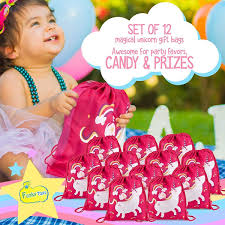 Unicorn Party Favor Bags Pack Of 12 Reusable Drawstring Backpacks