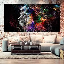 details zu löwe leinwand bilder wandbild bunt kunstdruck tiere abstrakt wohnzimmer