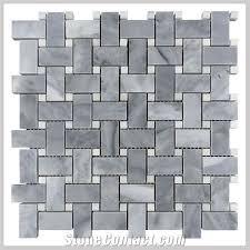 bardiglio grey polished 1x2 basketweave bianco carrara white dot