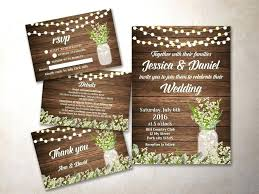 Rustic Wedding Invitations Invitation Kit Printable Baby Breath Mason Jar Invite
