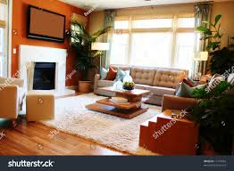 Living Room With Fireplace by Warm Sunny Living Room Fireplace Tv Stock Photo 17147854