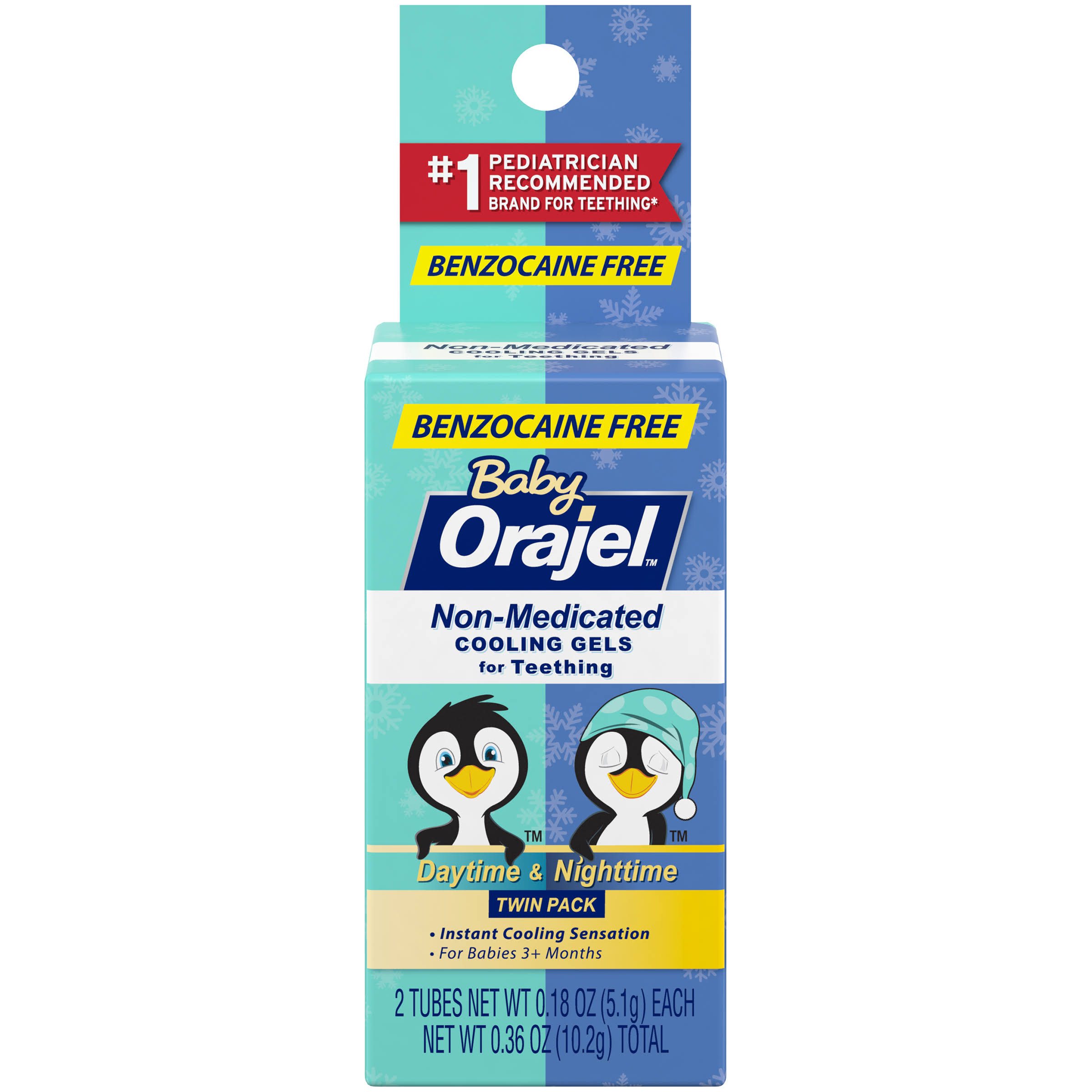 Baby Orajel Non-medicated Cooling Gels Teething Oral Care - Daytime Nighttime, 0.18oz