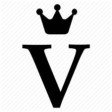 Alphabet crown english letter royal v icon