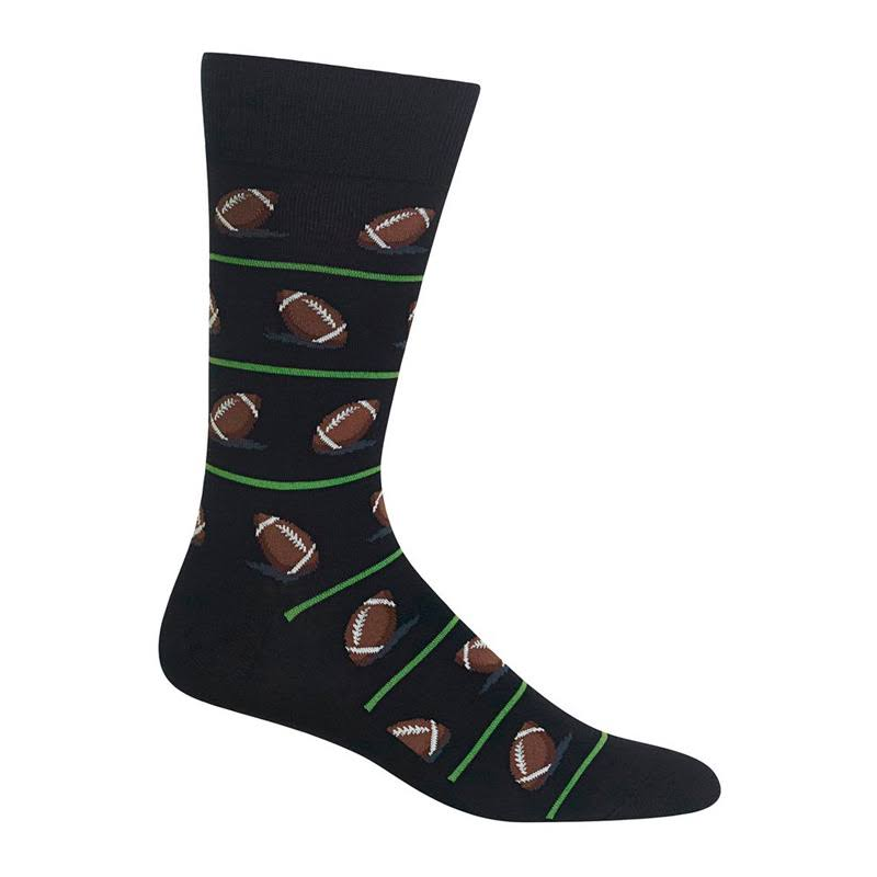 Hot Sox Men's Crew Socks - Football, Black
