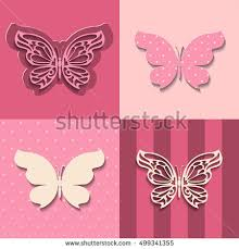 Paper Cut Lacy Butterfly Seamless Pattern Cutout 3d Set Collection Of Pink Colored