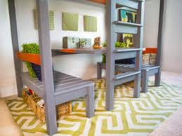 how to build a loft bed with a built in table and benches hgtv