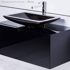 40 Inch Black Bathroom Vanity With Rectangular Vessel Sink And Faucet Combo