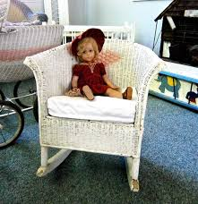 Child's Vintage White Wicker Rocking Chair From The 1920's ...
