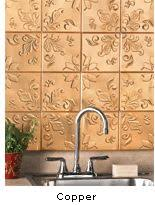 floral embossed copper tin tiles kitchen and bath set of 16