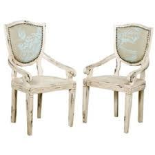 Louis Botanical Aqua Arm Chairs Shabby Chic Style Belle