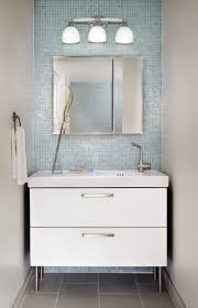 Light Blue Glass Subway Tile Backsplash by Tiles Small White Bathroom Cabinet And Contemporary Wall Lamp