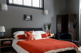 Grey And Orange Bedroom