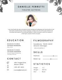 Free Theatre Actress Photo Resume CV Template In Photoshop PSD Illustrator AI