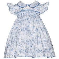 liberty london print smocked baby girl dress