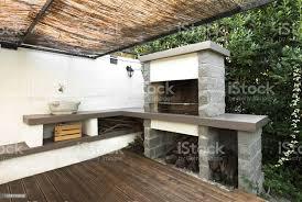 moderne outdoorküche mit harz stockfoto und mehr bilder architektur