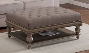 Leather ottoman coffee table with leather upholstered coffee table