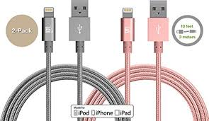 2 Pack] LAX 10ft Long Apple MFi Certified iPhone Charger Cord