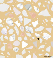 Terrazzo Seamless Pattern Yellow And Pastel Colors Marble Textured Shapes