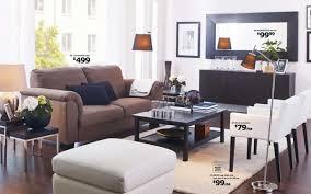 ikea brown tidafors sofa and white nils armchair