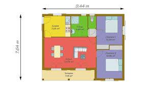plan maison plain pied 2 chambres plan de maison gratuit plain pied 4 plan maison 50m2 2 chambres