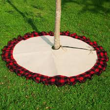 Check Burlap Christmas Tree Skirt Wholesale Blanks Cute Buffalo Plaid Jute With Ruffle For Chistmas Decorate Domil1061095 Silver