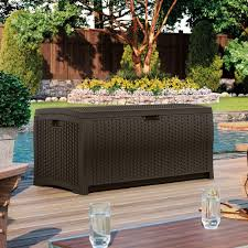 Suncast Outdoor Patio Furniture by Furniture Suncast Deck Box Ideas In Wheat With Brown On Top For