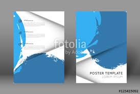 Simple Poster Design Template Blue Paint Strokes Splatters And Shadow Effect